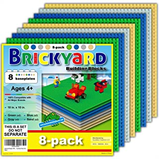 [Improved Design] 8 Baseplates, 10 x 10 Large Thick Base Plates for Building Bricks by Brickyard, for Play Table or Displaying Compatible Construction Toys (2 Green, 2 Blue, 2 Gray, 2 Sand - 8-Pack)
