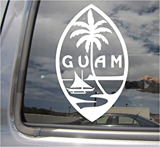 Right Now Decals - Guam Island Seal - Chamorro Chamoru Native - Cars Trucks Moped Helmet Hard Hat Auto Automotive Craft Laptop Vinyl Decal Store Window Wall Sticker 07101