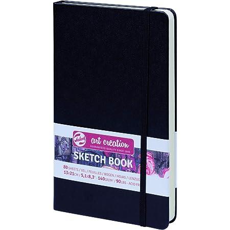 ターレンス アートクリエーションスケッチブック 絵を描く手帳 13×21cm 黒 厚み140g/㎡ 細目 中性 80枚綴じ T9314-002M