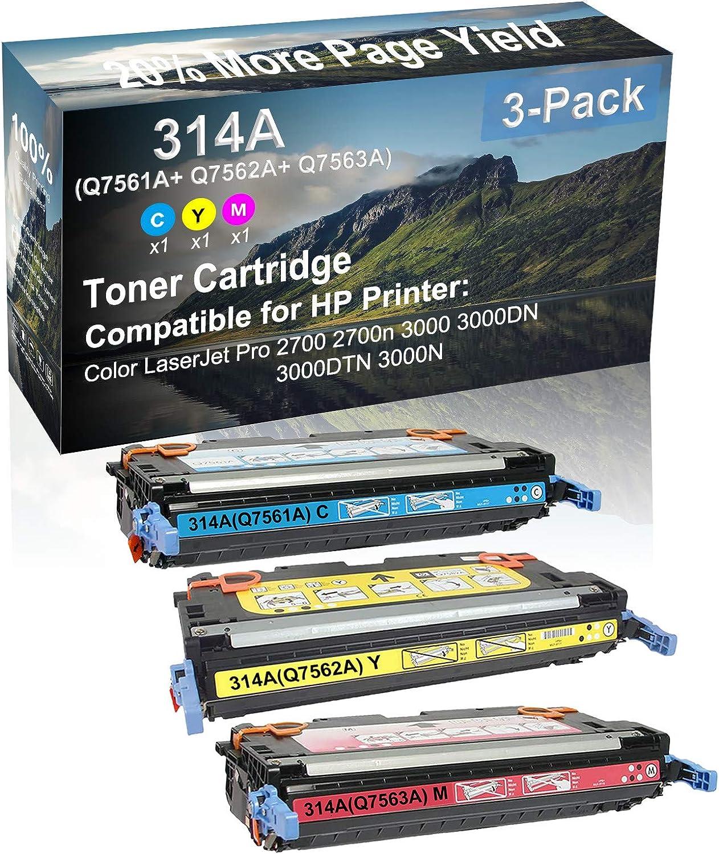 3-Pack (C+Y+M) Compatible High Yield 314A (Q7561A+ Q7562A+ Q7563A) Laser Printer Toner Cartridge use for HP 3000DTN 3000N Printer