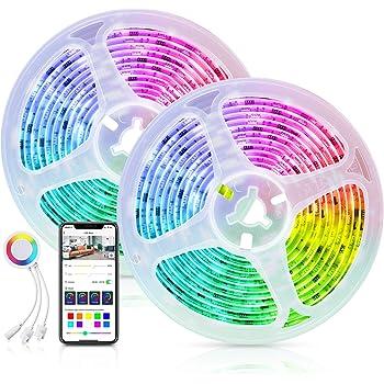 Alexa LED Striscia Dreamcolor Controllata da APP Smart Life, Maxcio 10M(2*5m) Smart Striscia LED RGB 5050 con Condivisione, DIY Scena, Striscia di Luci WIFi con Modalità Musica per Decorazione e Bar