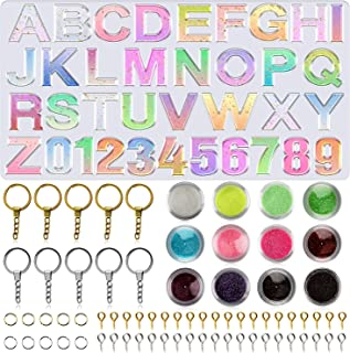 Apsung Alphabet Resin Silicone Molds Backward Letter Number Molds Glitter Sequins,Key Rings, Screw Eye Pins for Making Epo...