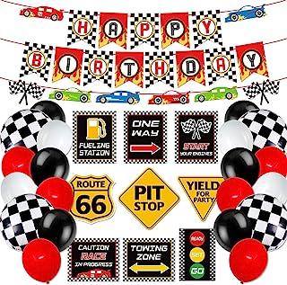 مجموعه دکوراسیون جشن تولد اتومبیل مسابقه تابلوهای مهمانی اتومبیل مسابقه بنر تولد مسابقه پرچم های چهارخانه بالن برای پسران بیایید برویم لوازم مهمانی مسابقه