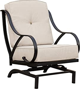 Top Space Rocking Motion Patio Chair Outdoor Deep Seating Club Chair Metal Furniture Set with Soft Cushion Sturdy Metal Frame Furniture for Garden Yard Lawn Poolside (1PCS, White)