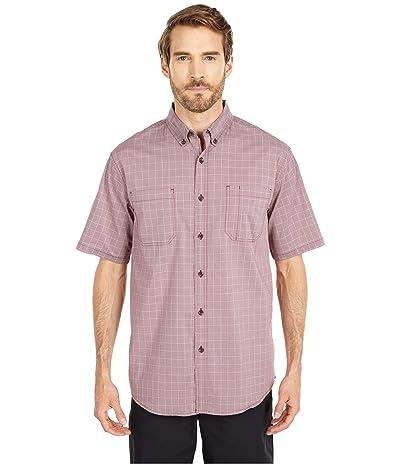Dickies Relaxed Fit Flex Short Sleeve Plaid Shirt (Wine Quail Grey Mini Check) Men