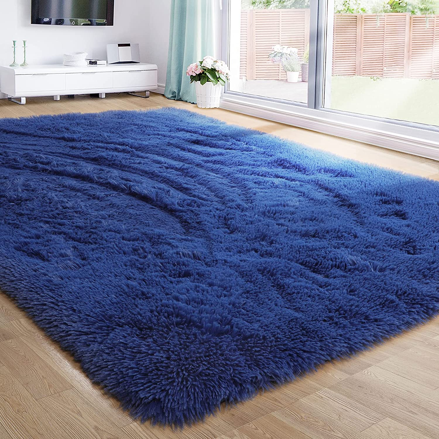 Navy Blue Fluffy Living Room Rugs, Furry Area Rug 5x8 for Bedroo