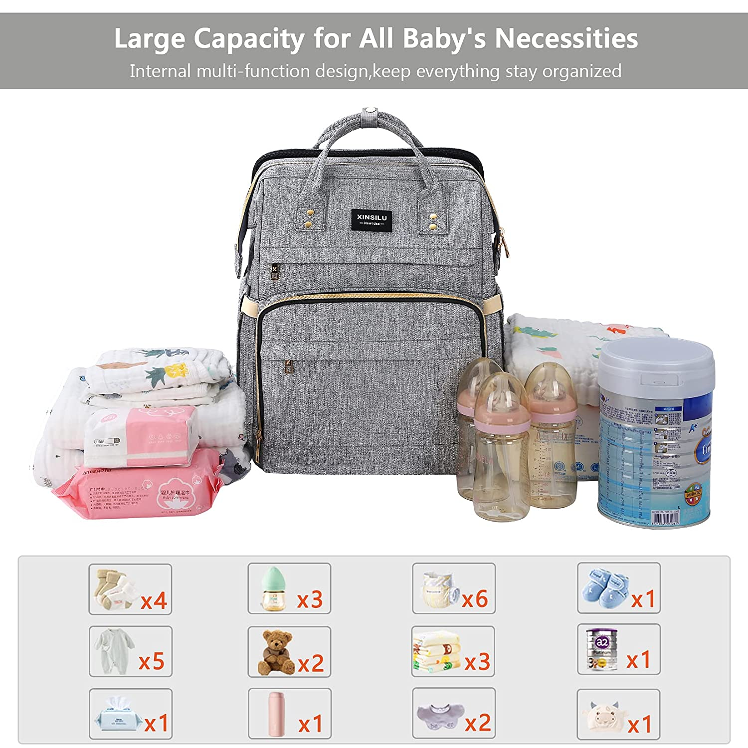 Xinsilu All in 1 Diaper Bag Backpack Foldable Baby Bed, Diaper Changing Station with USB Charging Port, Waterproof Multi-Functional Girl Boy Travel Baby Diaper Bag, Large Capacity, Gray
