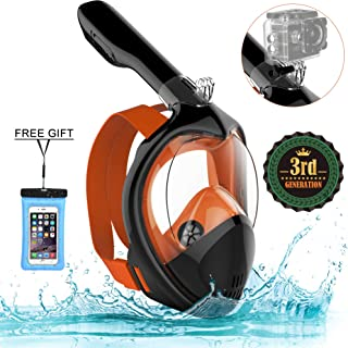 Poppin Kicks Full Face Snorkel Mask for Adult Youth and Kids | 180° Panoramic View Anti-Fog Anti-Leak Easy Breathe GoPro Compatible w/Detachable Camera Mount