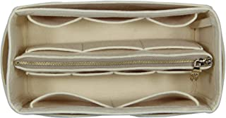[Fits Neverfull GM/Speedy 40, Beige] Purse Insert (3mm Felt, Detachable Pouch w/Metal Zip), Felt Tote Bag Organizer
