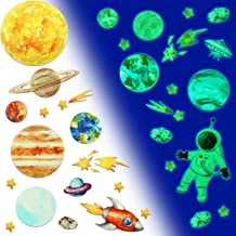Glow in The Dark Planet Wall Stickers Outer Space Wall Sticker Solar System Wall Stickers Galaxy Astronaut Star Rocket Sun...