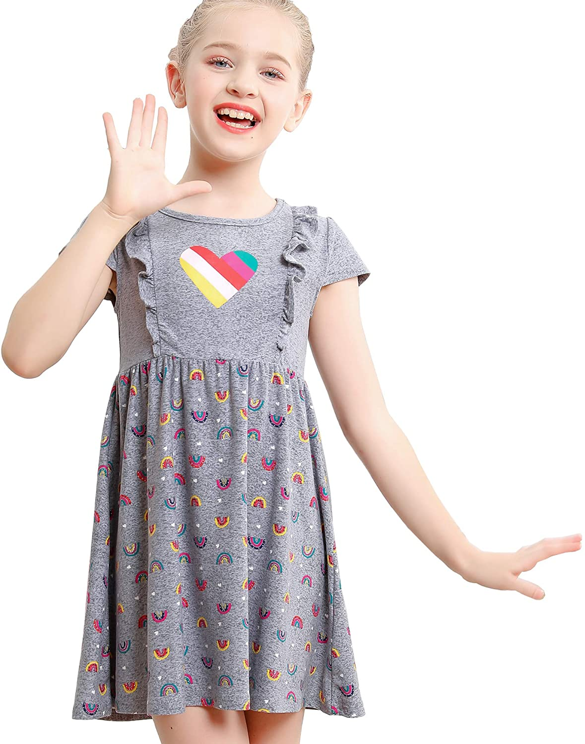 Financial sales sale V.GRIN Girls Long Selling rankings Sleeve Dress Twirly Spring Floral Stret Soft