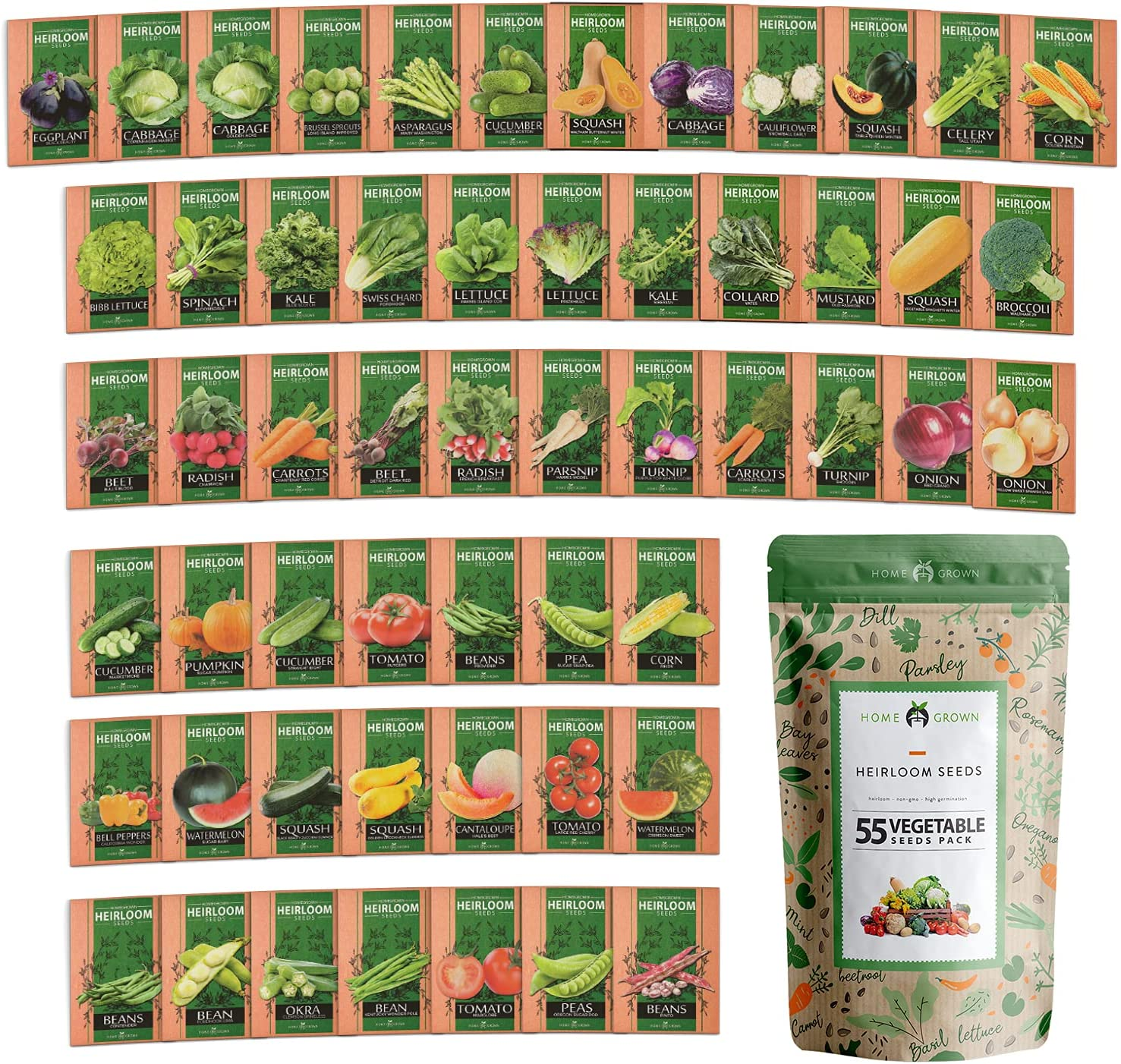Heirloom Vegetable Seeds - 25,300+ Seeds - 55 Variety of Non GMO Vegetable Seeds for Planting Home Garden, Homestead and Survival Gardening Seeds - Seeds for Planting Fruits and Vegetables