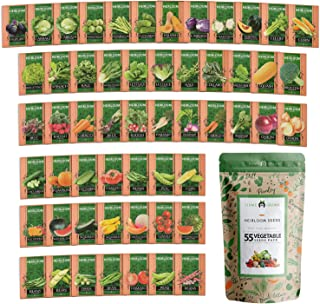 Heirloom Vegetable Seeds - 25,300+ Seeds - 55 Variety of Non GMO Vegetable Seeds for Planting Home Garden, Homestead and S...