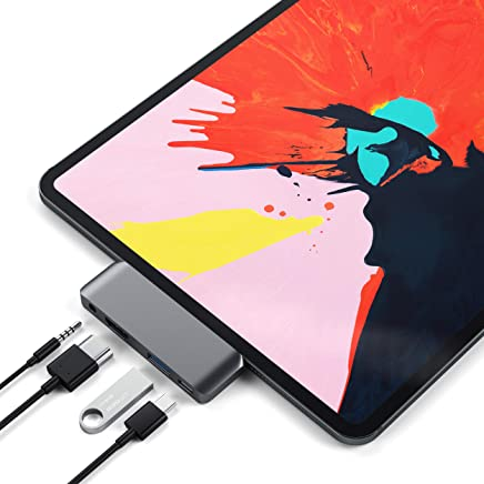Satechi Aluminum Type-C Mobile Pro Hub Adapter with USB-C PD Charging, 4K HDMI, USB 3.0 & 3.5mm Headphone Jack - Compatible with 2018 iPad Pro (Space Gray)