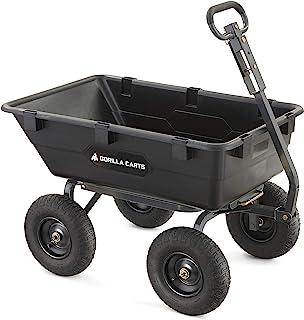 Gorilla Carts Heavy-Duty Poly Yard Dump Cart | 2-In-1 Convertible Handle, 1200 lbs..