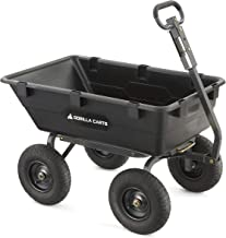 Gorilla Carts Heavy-Duty Poly Yard Dump Cart | 2-In-1 Convertible Handle, 1200 lbs..