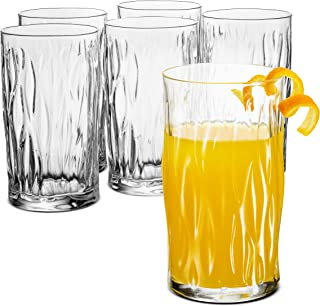Bormioli Rocco WIND Italian Drinking Glasses - 16.¼ Ounce - (6 Pack) Heavy Base Bar Glass with a Wavy Design - Large Highball Glasses for Water, Juice, Beer, Wine, Whiskey, Cocktails, Lead-Free, Clear