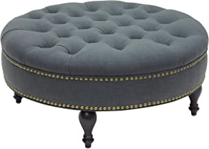 Baxton Studio Palfrey Linen Modern Tufted Ottoman, Gray
