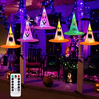 Litake Halloween Witch Hat Lights Decorations, 8 Pcs Hanging Glowing Witch Hat String Light with Remote, 8 Light Modes Bat...