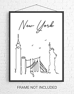 New York City Skyline CityScape Wall Art - 11x14 UNFRAMED, Minimalist Line Art Black & White Decor Prints. A Perfect Gift for NYC Lovers!