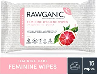 Rawganic Gentle Organic Intimate Hygiene Feminine Wipes, Ph Balanced, Flushable, Alcohol Free, Biodegradable Fragrance-Free Travel Wipes, 15 Wipe Count (15 Wipes/Pack)