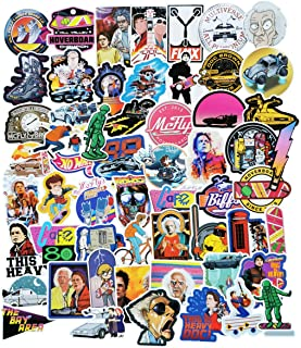 Back to The Future Waterproof Stickers/Decals (57 pcs) of Science Fiction Movie Marty for Laptop Skateboard Snowboard Water Bottle Phone Car Bicycle Luggage Guitar Computer PS4 (Future)