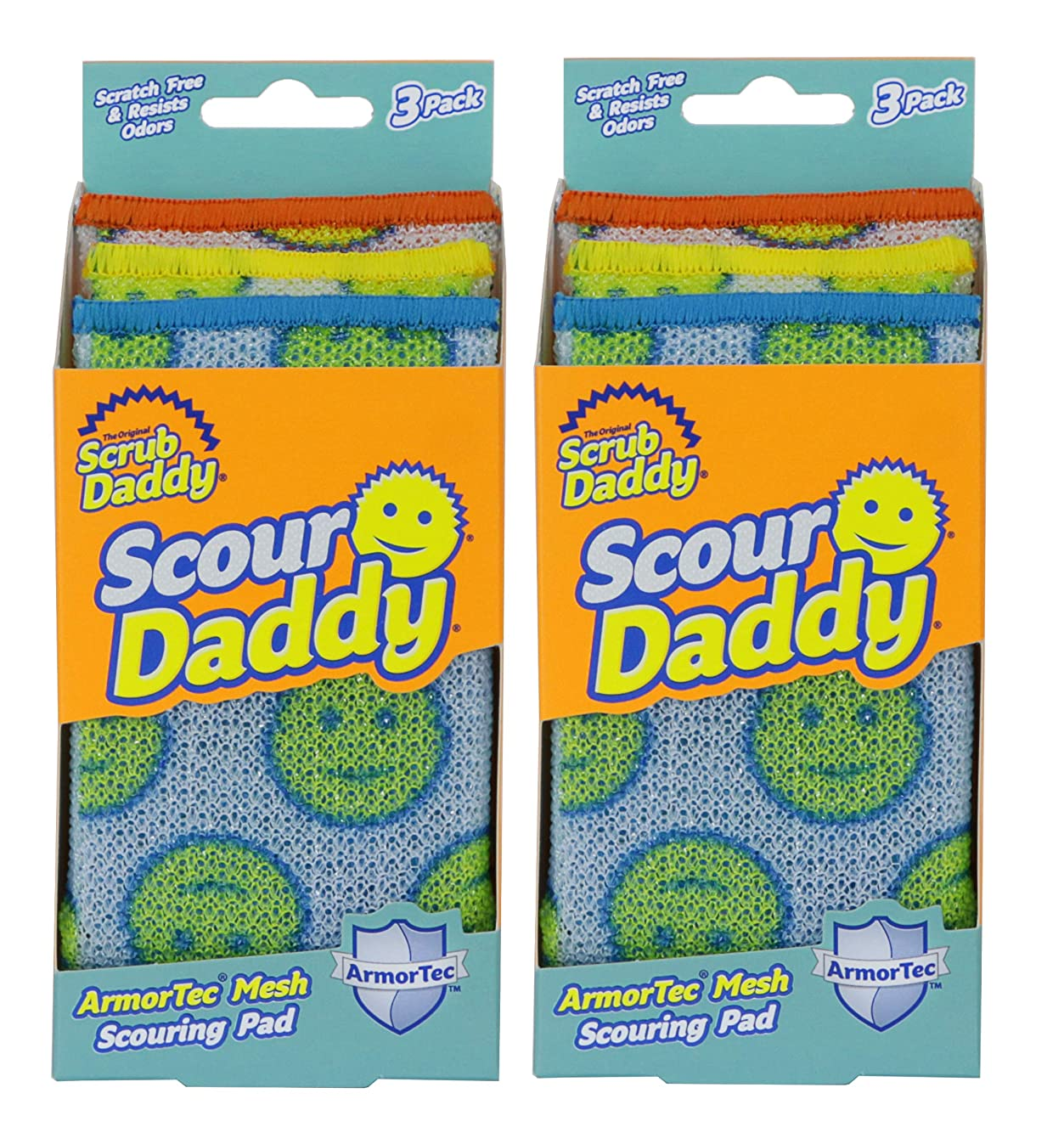 Scrub Daddy - Scour Daddy Scouring Pad - Scratch Free and Odor Resistant - 2 Pack of 3 Count (6 Total)