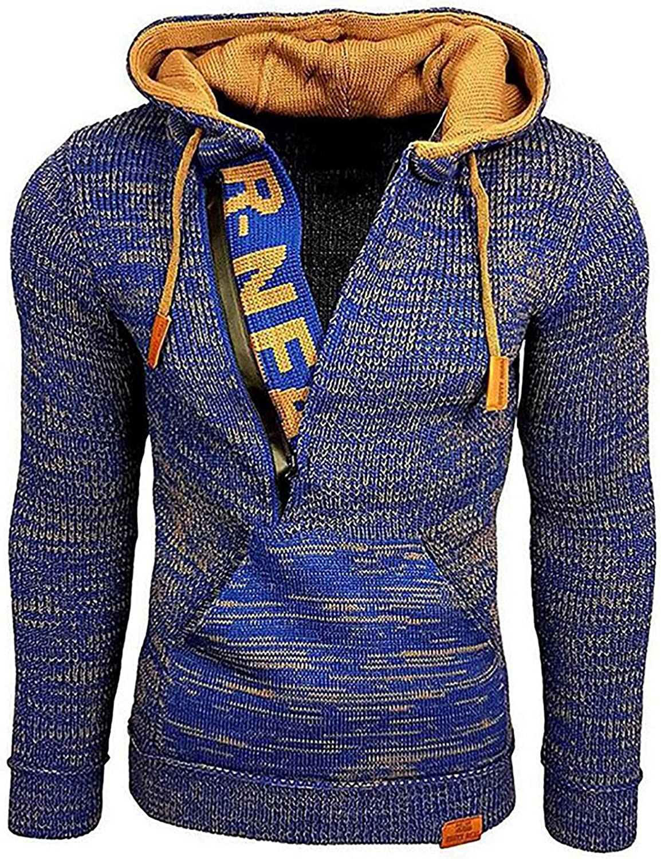 Men's Hoodies Sweater Fashion Fall Winter Loose Plus Size Long Sleeve Flat Knitted Pullover Sweatshirt Jacket