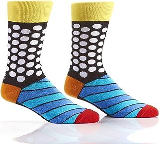 Romero Britto Men's Woven Crew Socks (Dots and Stripes)