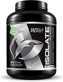 Grass Fed Whey Protein Isolate by Muscle Feast | All Natural and Hormone Free (5lb, Unflavored)