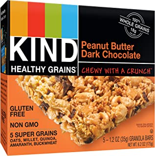 KIND Healthy Grains Bars, Peanut Butter Dark Chocolate, Non GMO, Gluten Free, 1.2oz, 5 Count (Pack of 3)