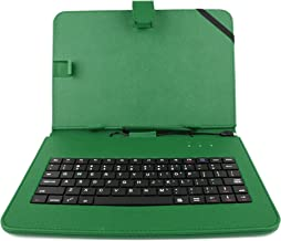 DURAGADGET Durable Green Faux Leather Protective Case Cover with Micro USB Keyboard & Built in Stand - Compatible with The Linx 1020
