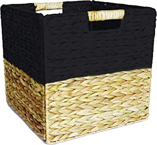Box and Beyond Panier de Rangement en Jacinthe d'eau et Papier - Cube - Pliable - Poignées intégrées - Naturel/Noir - 31x3...