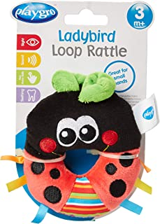 Playgro Ladybird Loop Rattle Soft Toy [Black and Red, PG0182628]