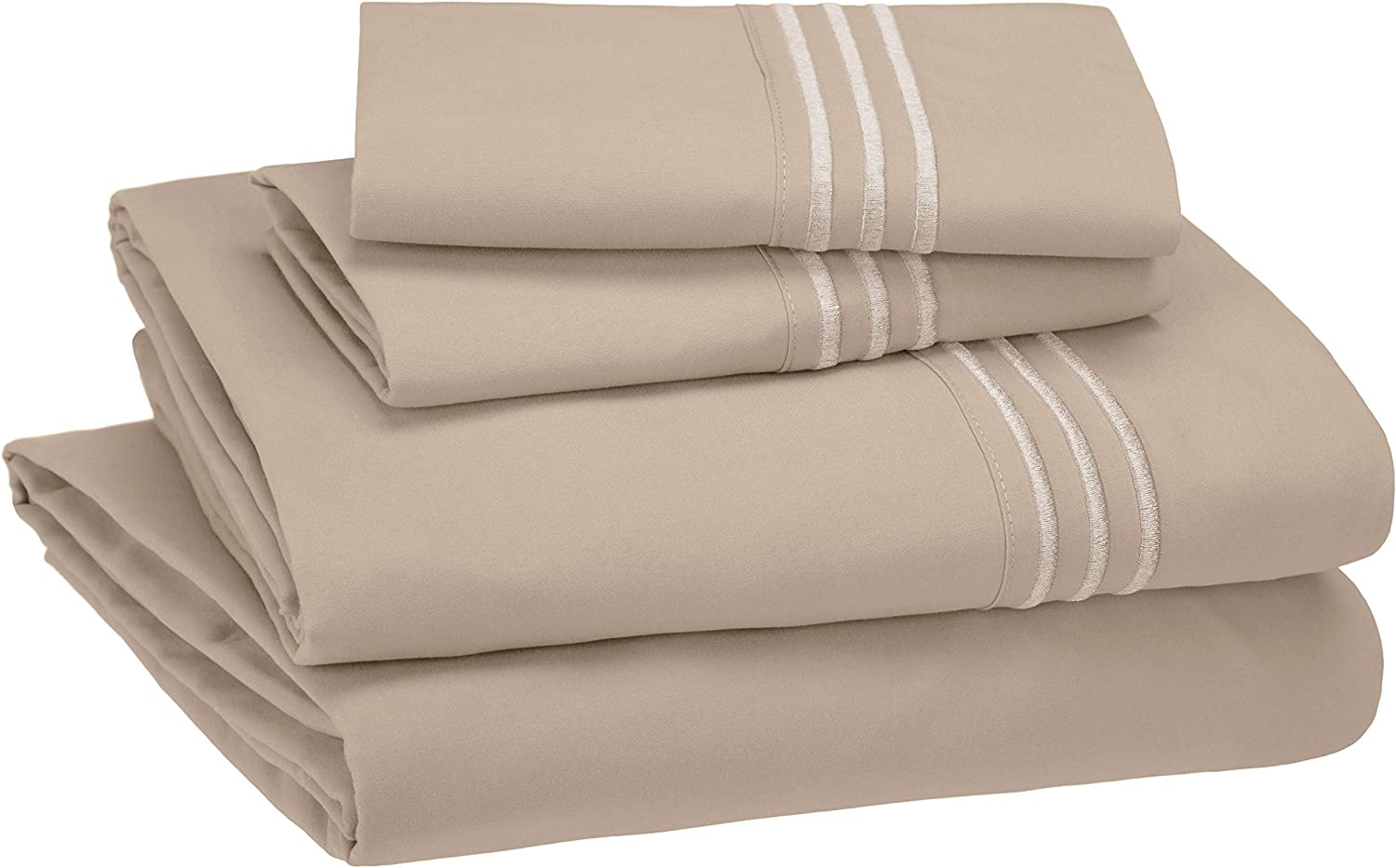 Amazon Basics Easy Wash Embroidered Hotel Stitch Brown Bed Sheet