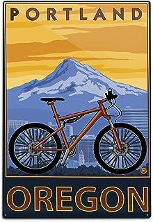 Lantern Press Portland, Oregon, Mountain Bike (12x18 Aluminum Wall Sign, Wall Decor Ready to Hang)