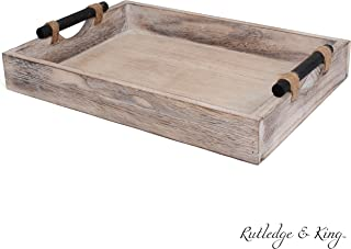 Rutledge & King Bethany Serving Tray - Ottoman Tray/Decorative Tray - Coffee Table Tray/Wooden Tray - Breakfast in Bed Tray with Handles - Rustic Wood Tray