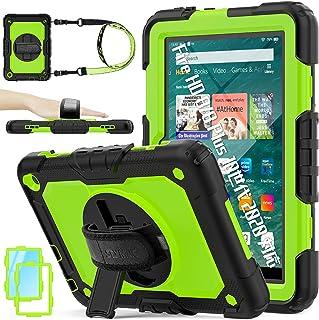 SEYMAC stock Amazon Kindle Fire HD 8/8 Plus ケース オールスクリーン保護フィルム 360°回転スタンド 360度回転握り方 調節可能 ショルダーストラップ付き ハンドストラップ内蔵 ペン収納 先進の機...