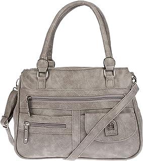 Christian Wippermann große Damen Umhängetasche Tasche Schultertasche in Leder Optik (Grey)