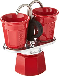 Bialetti Mini Express Color, Set of 2 cups + 2 shot glasses, Red, Aluminum