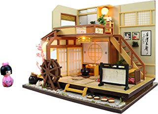 Cool Beans Boutique Miniature DIY Dollhouse Kit Wooden Japanese Home Forest Lodge and Japanese Doll with Dust Proof Cover - Architecture Model kit (English Manual)