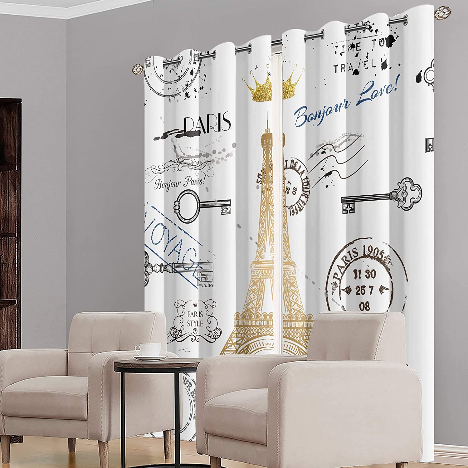 MESHELLY Paris Eiffel Tower 70% Blackout Curtains 52(W) x 84(H) Inch Grommet Vintage Girls Keys Postmark Crown Silver White Gold Drapes for Bedroom Living Room Window Treatment Fabric 2 Panels…
