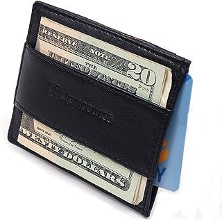 Genuine Leather Super Thin Slim Cash Strap Front Pocket Wallet