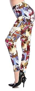 Women High Waist Printed Patterned Floral Sexy Leggings Fleece Pants