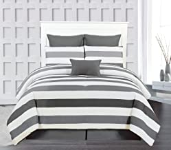 Duck River Darby Striped Comforter Set, King, Charcoal-Grey