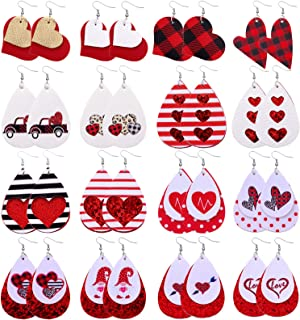Biokia Valentine Earrings For Women Dangle Layered Buffalo Plaid Earrings Lightw