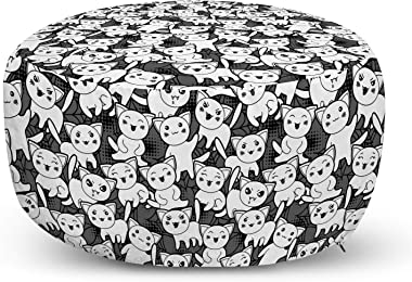 Lunarable Japanese Party Ottoman Pouf, Kawaii Cats Kittens on a Greyscale Background Animalistic Pattern, Decorative Soft Foot Rest with Removable Cover Living Room and Bedroom, Charcoal Grey Grey