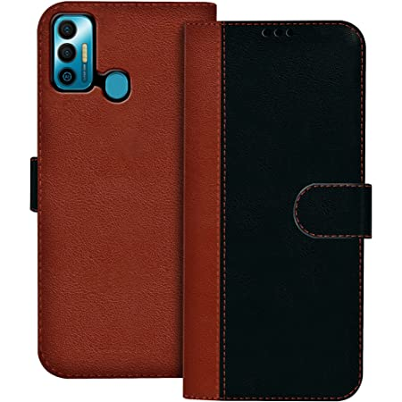 HUPSHY Faux Leather Flip Case Back Cover for Tecno Spark 7 Foldable Stand and Inside Card Pocket|Shockproof with 360 Degree|Magentic Clutch Folie (Black and Brown)