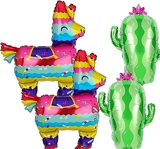 2 Pcs Llama Shaped Jumbo Mylar Foil Balloon and 2 Pcs Cactus Foil Balloons Mexican Fiesta Theme Party Decorations Birthday...