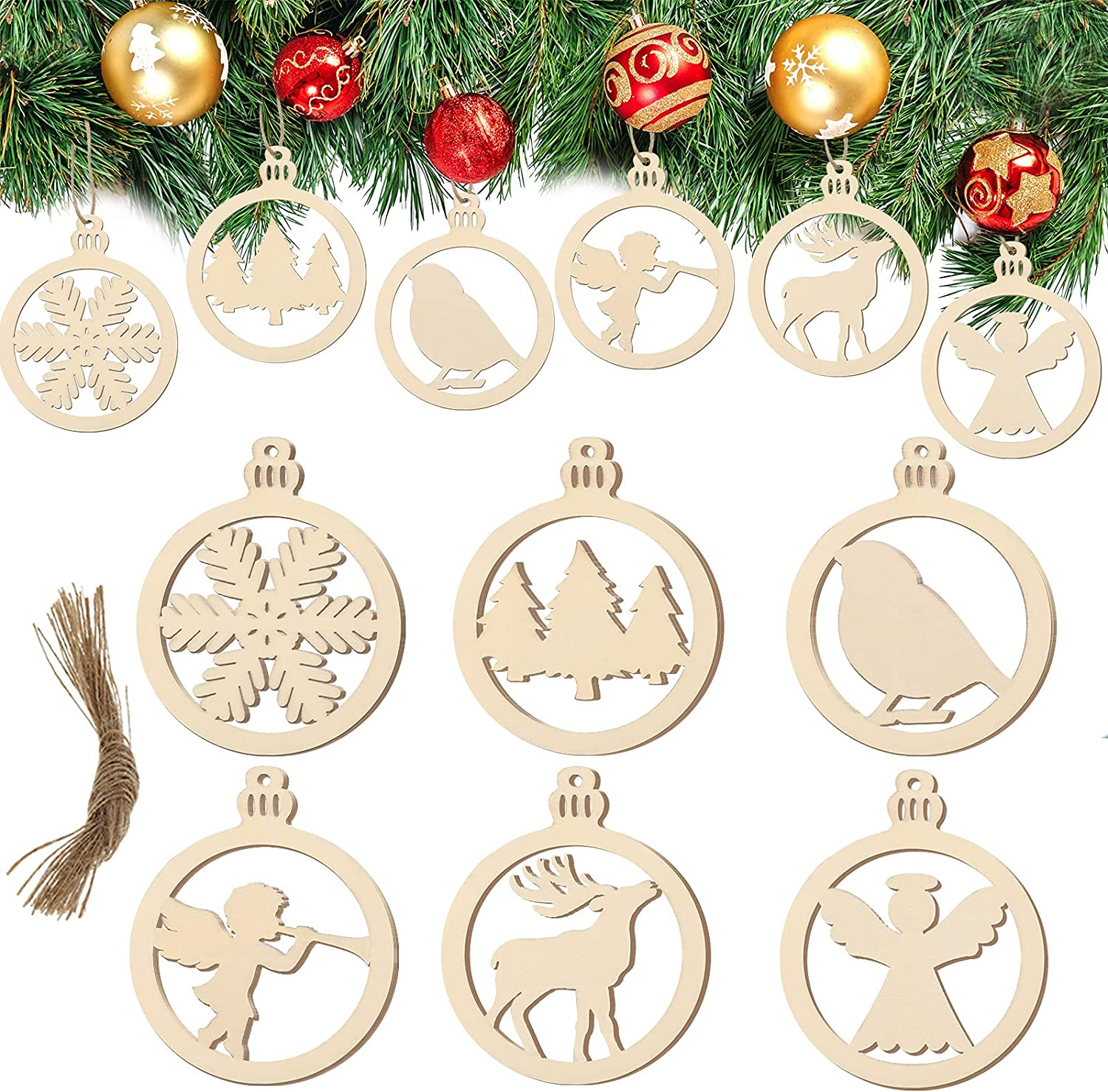 30 online shop Pieces Christmas Hanging Round Fretwo Ornaments Hollow Cheap sale Wooden